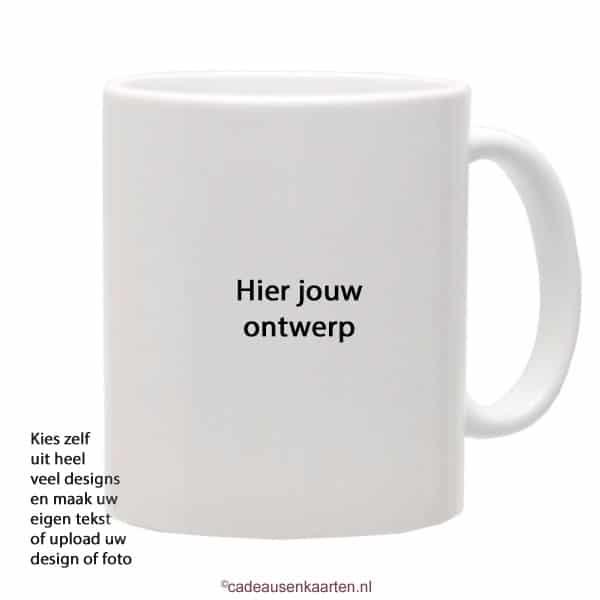 Beker glans met eigen ontwerp cadeausenkaarten.nl