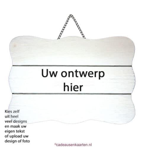 Decoratie bord golvend met eigen ontwerp cadeausenkaarten.nl