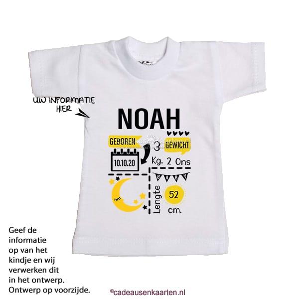 Mini T-shirt Maan met geboorte gegevens cadeausenkaarten.nl
