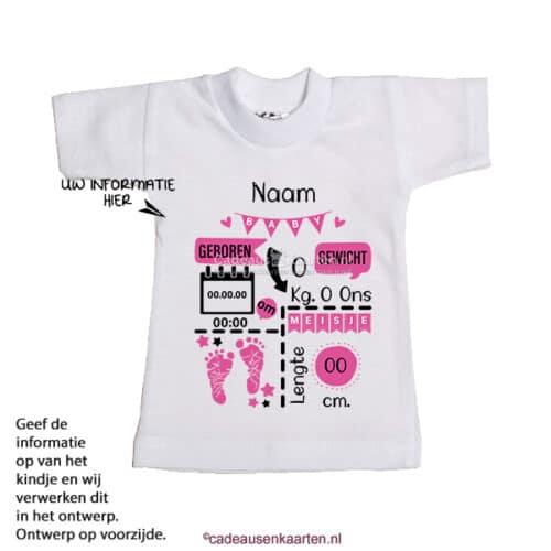 Mini T-shirt Voetjes met geboorte gegevens cadeausenkaarten.nl