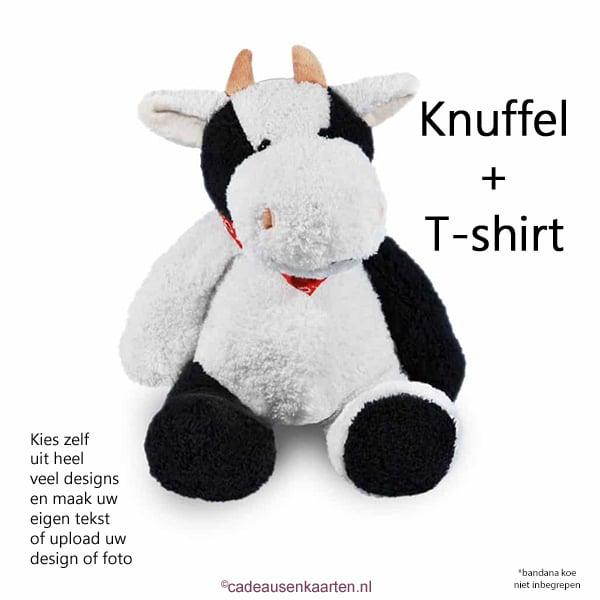 Knuffel koe met eigen ontwerp op T-shirt cadeausenkaarten.nl