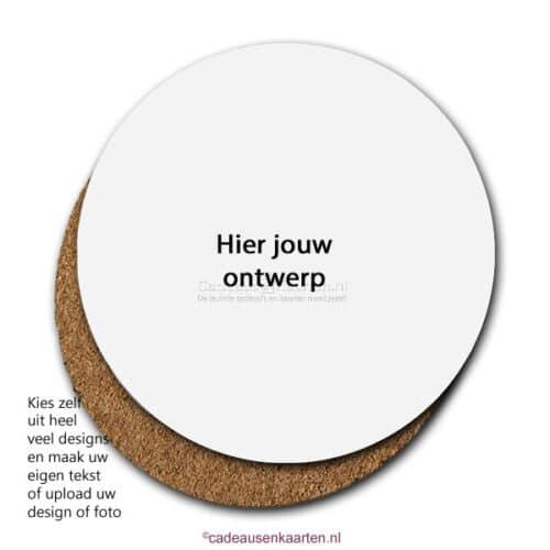 Onderzetter rond mdf met eigen ontwerp cadeausenkaarten.nl