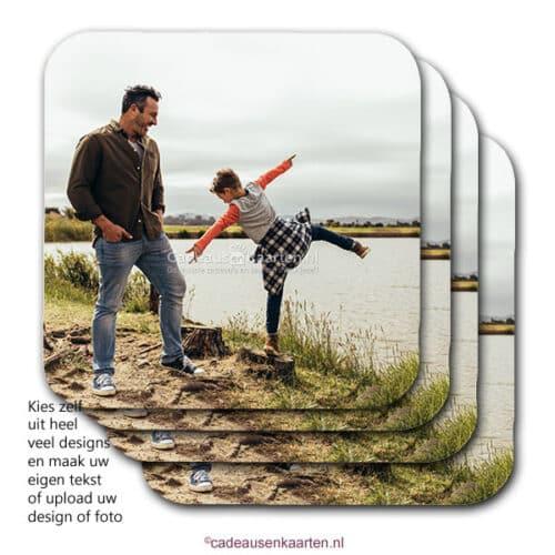 Onderzetter vierkant mdf met eigen ontwerp cadeausenkaarten.nl