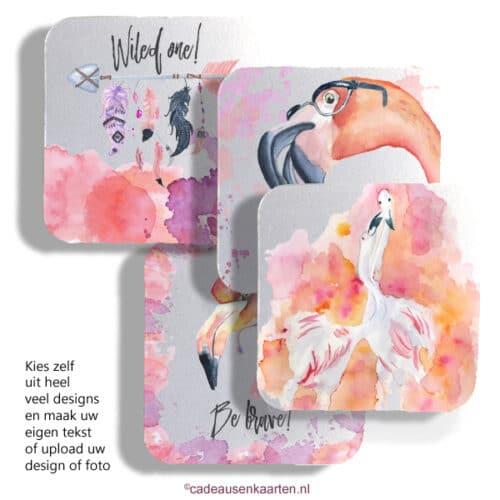 Onderzetter vierkant met eigen ontwerp cadeausenkaarten.nl