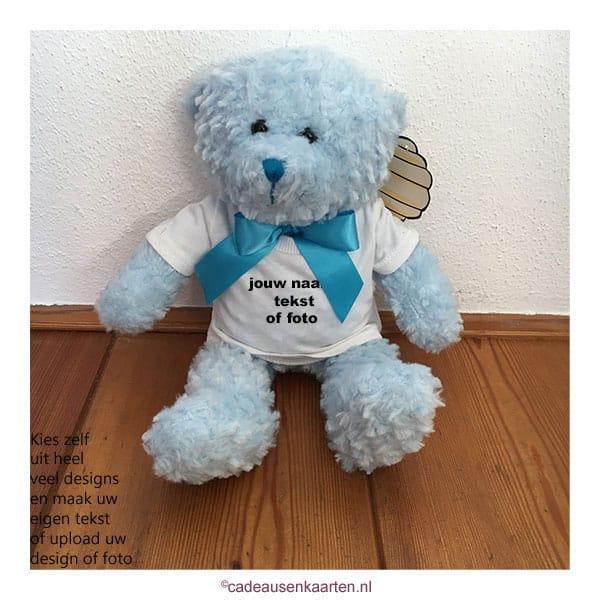 Knuffel beer blauw met eigen ontwerp cadeausenkaarten.nl