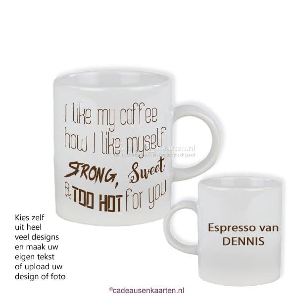 Espresso kopje glans met eigen ontwerp cadeausenkaarten.nl