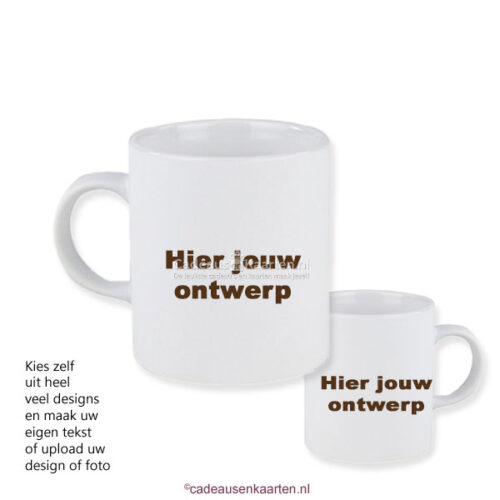 Espresso kopje mat satin met eigen ontwerp cadeausenkaarten.nl