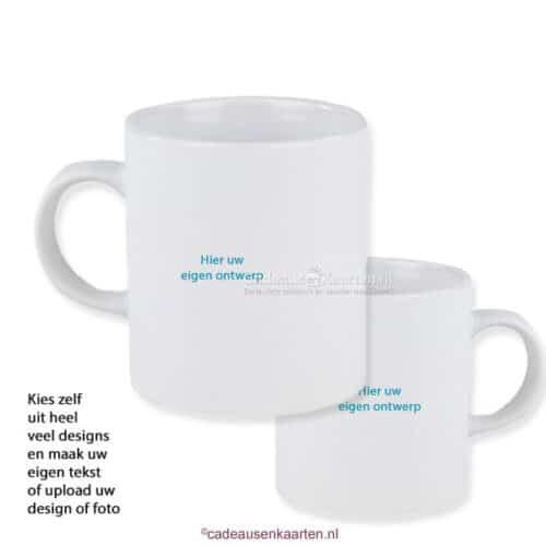 Kopje mat satin met eigen ontwerp cadeausenkaarten.nl